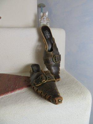 Vintage Boho Buffalo London Western Leder Nieten Buckle Sandalette - Gr. 37 - Braun Bronze Pantolette Clogs