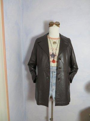 Vintage Boho weicher Nappa Ledermantel aus England Gr. 40 Dunkelbraun