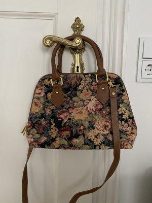 Vintage Bowlingtasche Umhängetasche Blumenmuster Brokat