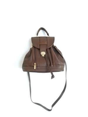 Vintage Braune Echtleder Tasche Made in Italy abnehmbare Träger Boho Designer