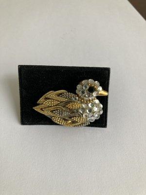 Vintage Brosche gold Ente mit Swarovskisteinen