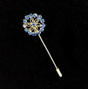 Vintage Brosche Hat Pin Blume Blumenmotiv blaue Kristalle Blaue Brosche Schmuck