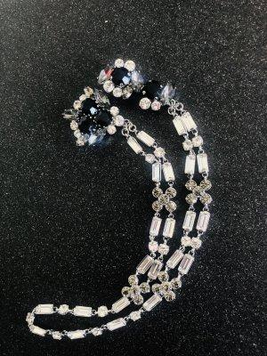 Vintage Broschenkette Kettenverschluss Glass Kristalle silber