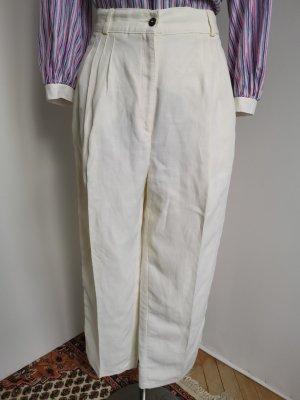 Vintage Pantalón de lino blanco-blanco puro