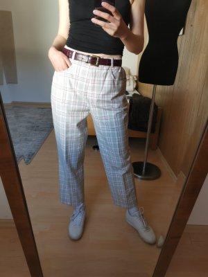 Vintage Pantalon à pinces gris clair-rouge
