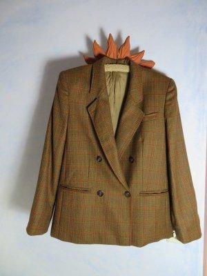 Vintage Burberry-Stil Tweed Blazer - 100% Wolle Jacke - Cognac Braun Kariert - Boyfriend Blazer