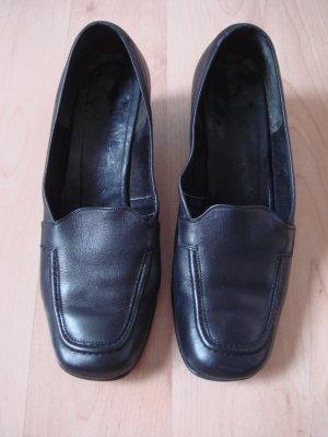 Vintage - Business  Halbschuhe Schlüpfschuhe Pumps Gr. 5,5 Leder schwarz - Made in Italy