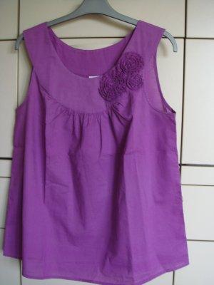 Vintage - Camaieu  Top Gr. 40  mit 3 Rosenblüten violett - Baumwolle edel  - FRANCE