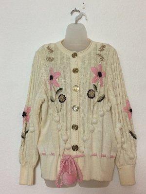Vintage Cardigan 70er Schurwolle bestickt Gr. S Staufen Wolle Uli Hoffmann