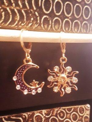 Vintage Celestial Boho Sonne und Mond Ohrringe in Goldene Farbe