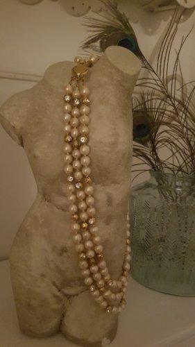 Chanel Collana di perle oro-crema