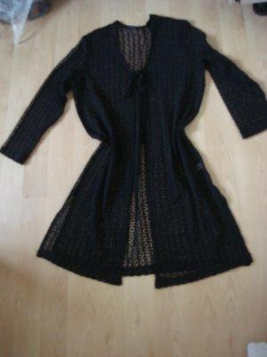 Vintage Długa kurtka czarny Tkanina z mieszanych włókien