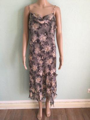 Vintage Chiffon Kleid Floral Khaki Volants