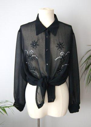 Vintage Chiffonbluse schwarz 90er, loose fit Bluse Stickerei floral, blogger alternative