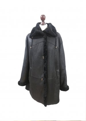 Vintage CHRIST gewachsenes Lammfell Jacke Mantel Echtleder schwarz warm Winter