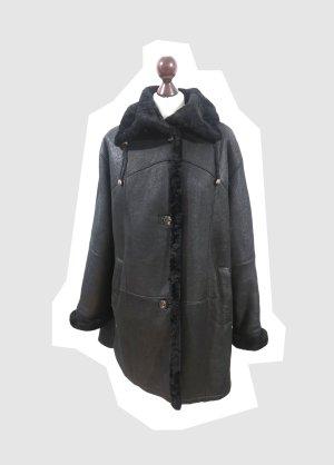 Vintage CHRIST gewachstes Lammfell Jacke Mantel Echtleder schwarz warm Winter