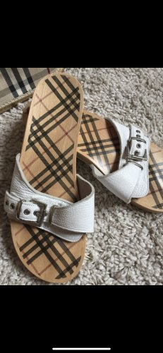 Burberry High-Heeled Toe-Post Sandals white leather