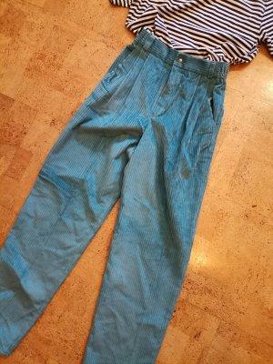 Vintage Pantalón de pana azul claro-azul cadete