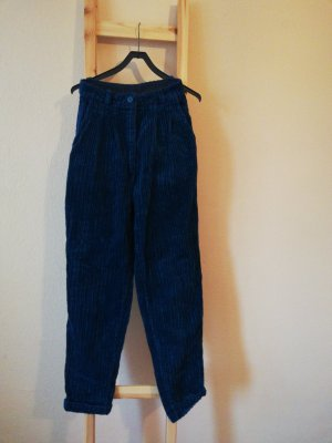 Vintage Pantalon en velours côtelé bleu foncé-bleu cadet