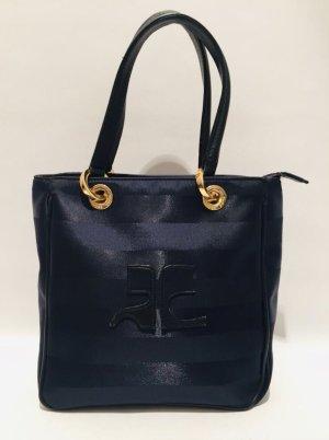Vintage Courrèges dunkelblaue Canvas-Handtasche mit Logo