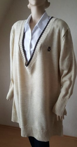 Vintage creme vintage beige Pullover V-Ausschnitt Größe 52 / 54
