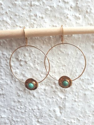 Vintage Ear Hoops gold-colored-turquoise