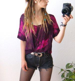 Vintage crop Shirt violett, transparentes Top floral, boho festival blogger
