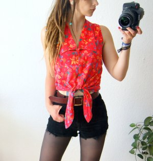 Vintage cropped Bluse, florales Shirt ziegelrot, boho hippie festival