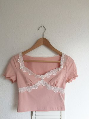Vintage cropped top mit Spitze süß rosé