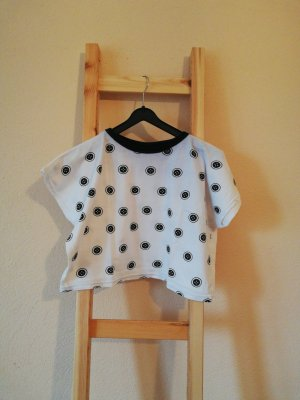 Vintage Cropped shirt wit-zwart