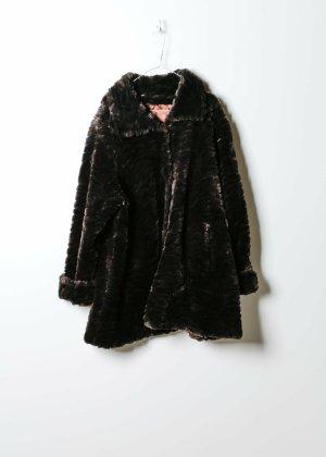 Vintage Damen Fake Fur Mantel in Braun