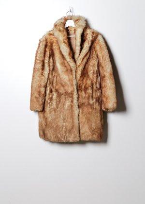 Vintage Damen Fake Fur Mantel in Gelb