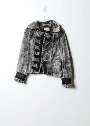 Vintage Damen Fake Fur Mantel in Grau