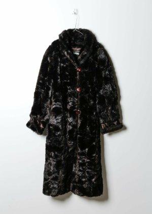 Vintage Damen Fake Fur Mantel in Schwarz