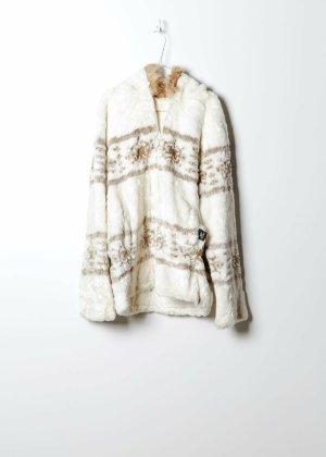 Vintage Damen Fake Fur Mantel in Weiß