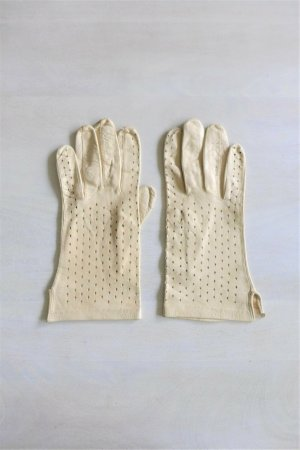 Vintage Damen Lederhandschuhe creme perforiert dünn Gatsby