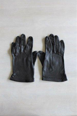 Vintage Damen Lederhandschuhe dünn schwarz edel
