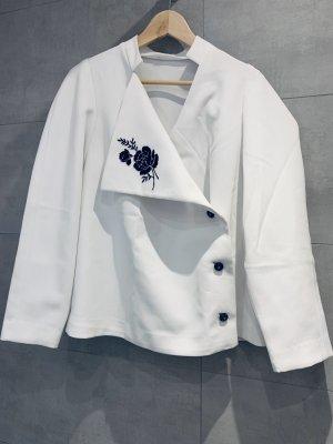 Vintage Damen Oberteil langärmelig Bluse/ Blazer aus Crimplene weiß Gr. 48-50/4Xl