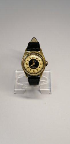 Montre avec bracelet en cuir noir-doré