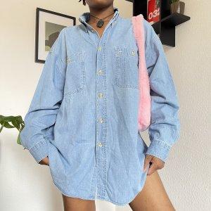 Vintage Camisa vaquera azul aciano-azul celeste Algodón