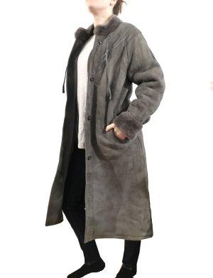 Vintage Designer Lammfell Mantel gewachst Gr.38 Echtleder grau