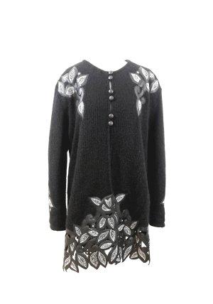 Vintage Designer Strickmantel Wolle ausgefallen Handmade René Dúpont Paris schwarz Leaves