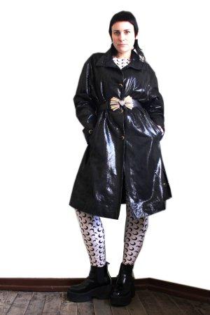 Vintage Designer Von Holdt Collection Shiny Leather Coat
