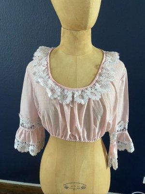 Blusa folclórica rosa claro Algodón