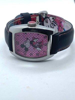 Disney Zegarek ze skórzanym paskiem czarny-różowy