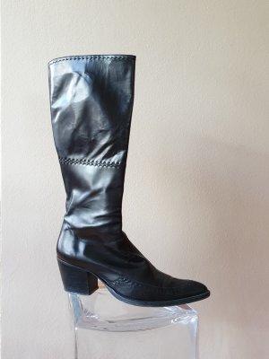 vintage DUCCIO DEL DUCA Echtleder Stiefel mit Ziernähten, schwarz mit cognacfarbenem Lederfutter