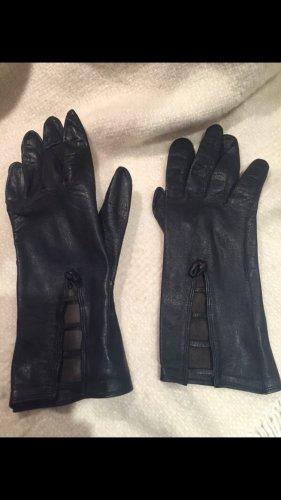 Vintage: Dunkelblaue feine Lederhandschuhe