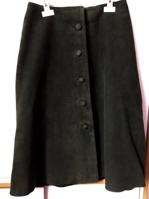 Leather Skirt dark green leather