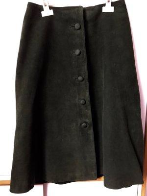 Vintage Falda de cuero verde oscuro Cuero