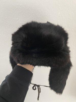 Futrzana czapka ciemnobrązowy-czarno-brązowy